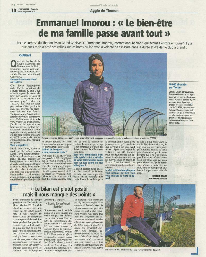 Thonon Evian Grand Genève Football Club - LEMESSAGER 2020-01-24